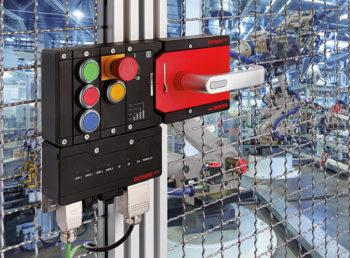 Das MGB-System sichert Schutztueren und Zaeune an Maschinen und Anlagen vor gefahrbringenden Maschinenbewegungen und vereint Sicherheitsschalter, Riegel und Tuerschliessmechanismus in einem