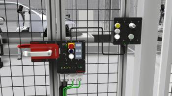 Das MGB-System sichert Schutztueren und Zaeune an Maschinen und Anlagen vor gefahrbringenden Maschinenbewegungen und vereint Sicherheitsschalter, Riegel und Tuerschliessmechanismus in einem. Eine abgesetzte Montage ist moeglich.
