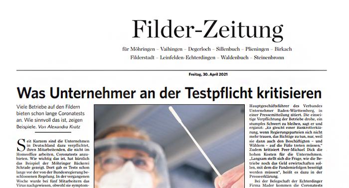 Die Filder-Zeitung berichtet zur Testpflicht in Unternehmen